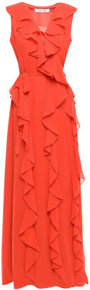 Diane von Furstenberg Ruffled Georgette Maxi Wrap Dress