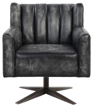 17 Stories Farnham Channel Tufted Leatherette Office Swivel Club Chair