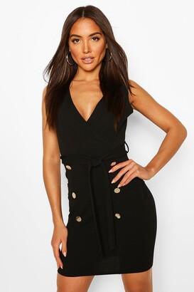 boohoo Sleeveless Belted Blazer Dress
