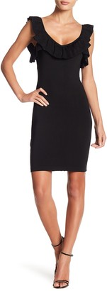 Bebe Ruffled V-Neck Bodycon Dress