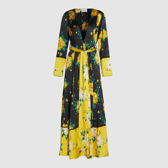 Leone We Are Black Floral Print Silk-Blend Belted Robe Size XS/S