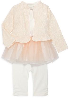 Miniclasix Baby Girl's 3-Piece Jacket, Top Capri Legging Set