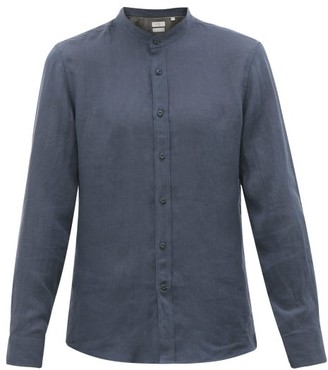 Brunello Cucinelli Mandarin-collar Muslin Shirt - Mens - Navy