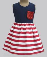 Red Stripe & Navy Anna Dress - Infant Toddler & Girls