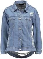 Missguided Petite SHREDDED BACK Denim jacket stonewash