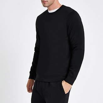 River Island Black crew neck long sleeve sweatshirt