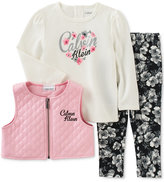 Calvin Klein Baby Girls' 3-Pc. Faux-Leather Vest, T-Shirt & Leggings Set