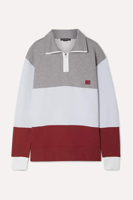 Acne Studios Flint Face Appliqued Color-block Cotton-jersey Sweatshirt - Light gray