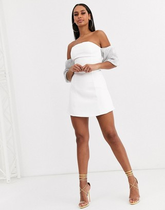 Club L London bandeau dress with sequin balloon sleeve detail in white