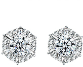 Cubic Zirconia & Silvertone Starburst Stud Earrings