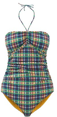 Ganni Halterneck Ruched Checked Swimsuit - Womens - Multi