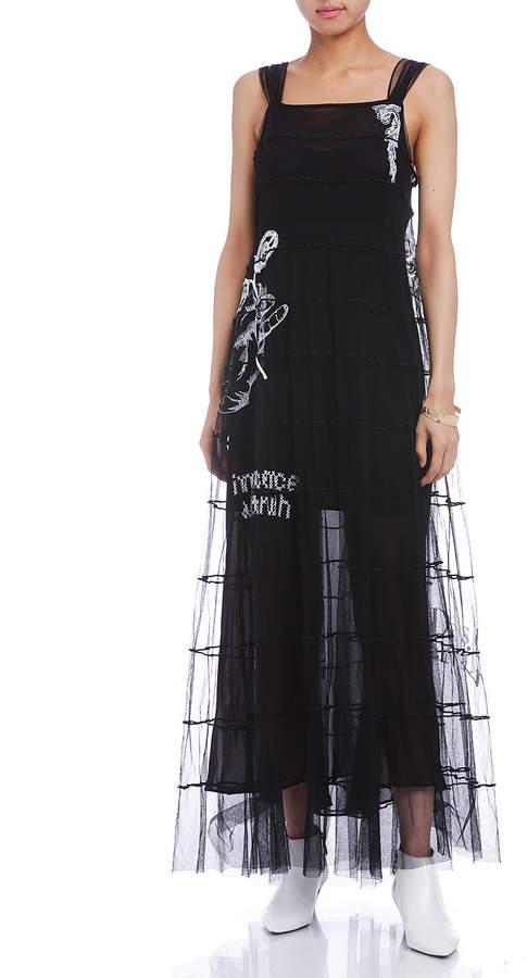 Maison Margiela (メゾン マルジェラ) - Maison Margiela 刺しゅう ティアード レイヤードドレス ブラック 42