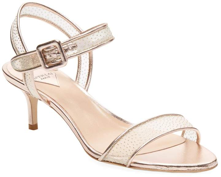 Aperlaï Women's Embellished Leather Mid Heel Sandal