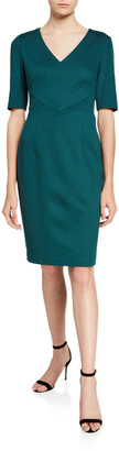 Trina Turk Tropical Ponte V-Neck Short-Sleeve Sheath Dress