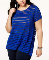 INC International Concepts I.n.c. Plus Size Asymmetrical Illusion-Striped Top, Created for Macy's