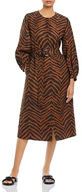 Lafayette 148 New York Louisa Animal Stripe Silk Blend Dress