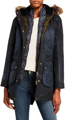 Barbour Thrunton Waxed Cotton Faux Fur Coat