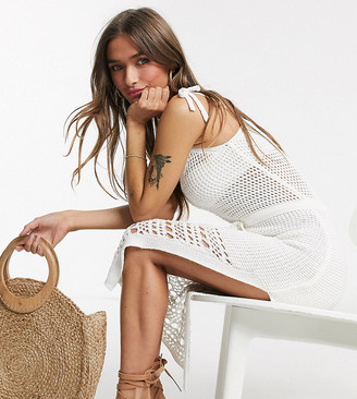 ASOS DESIGN Petite crochet knit midi dress with tie waist