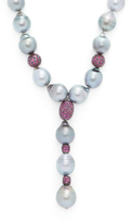 Tahitian Gray Pearl, Ruby & Sterling Silver Lariat Necklace