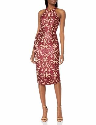 Dress the Population Women's Cassie Halter Neck Lace Dress