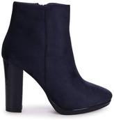 Linzi MADDIE - Navy Patent & Suede Round Toe Minimal Platform Ankle Boots