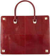 Valentino Garavani Lizard-Embossed Large Tote Bag, Burgundy