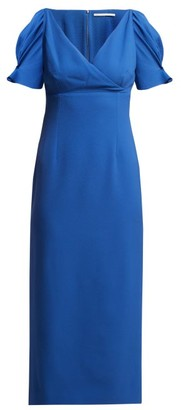 Emilia Wickstead Karinette V-neck Midi Dress - Womens - Blue