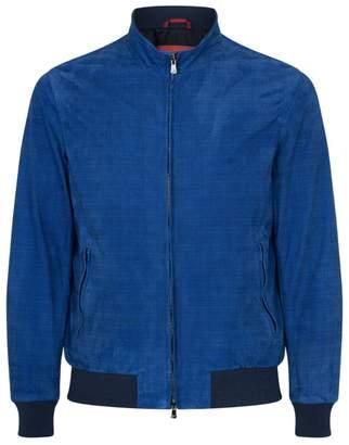Isaia Printed Leather Jacket