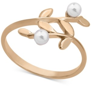 Majorica Gold-Plated Sterling Silver Imitation Pearl Vine Statement Ring