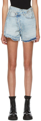 R 13 Blue Denim Cross Over Shorts