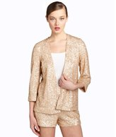 French Connection blush chiffon sequined open front shawl collar jacket