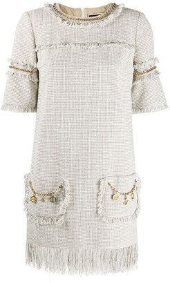 Elisabetta Franchi Chain Embellished Frayed Edge Shift Dress