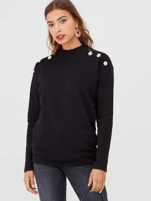 Very Jewel Shoulder Sweater - Black