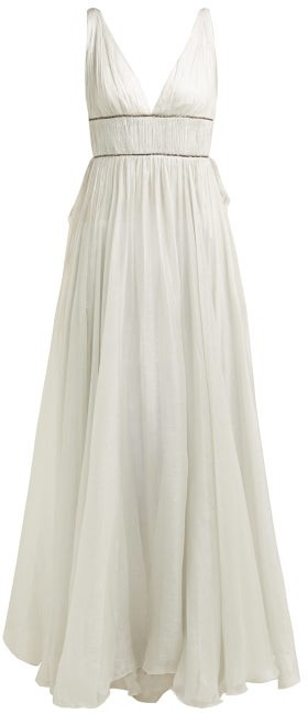 Maria Lucia Hohan Sage Crystal Embellished Silk Maxi Dress - Womens - Silver