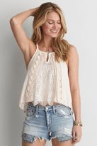 American Eagle Outfitters AE Hi-Neck Lace Trim Cami