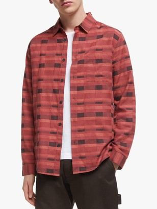 It's All Good Folk Check Print Long Sleeve Flannel Shirt, Deep Red