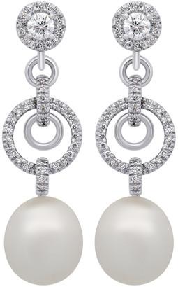 Assael South Sea & Akoya Pearl 18K 1.23 Ct. Tw. Diamond 13.3X11.8Mm South Sea Pearl Earrings