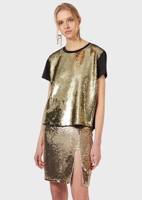 Emporio Armani T-Shirt With Gold Sequins