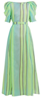 Vika Gazinskaya Puff-sleeved Striped Organza Gown - Green