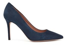 HUGO BOSS Pointed Toe Pumps In Italian Suede - Dark Blue
