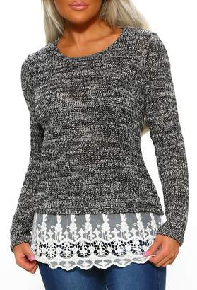 Pink Boutique Call It A Day Grey Soft Long Sleeve Knit With Lace Hem