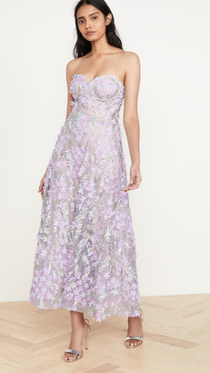 Marchesa 3D Embroidered Strapless Tea Length Gown
