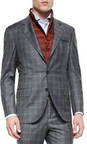 Brunello Cucinelli Plaid Two-Piece Wool Suit, Gray