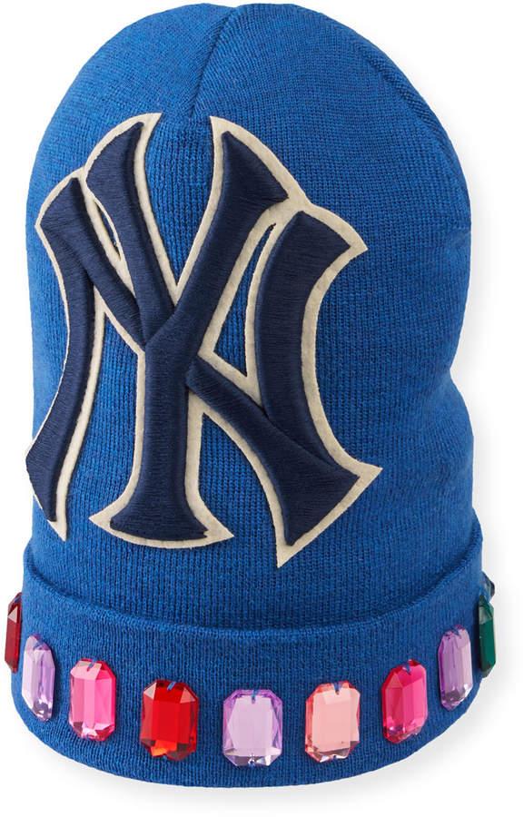 ae556b7b8 Men's Jewel-Trim New York Yankees-Applique Beanie Hat