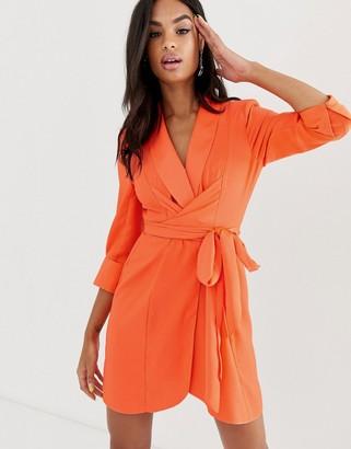 Asos Design DESIGN mini tux dress with self tie belt-Orange