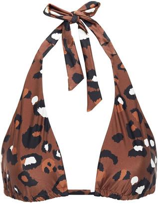 The Upside Adriana Leopard-print Triangle Bikini Top