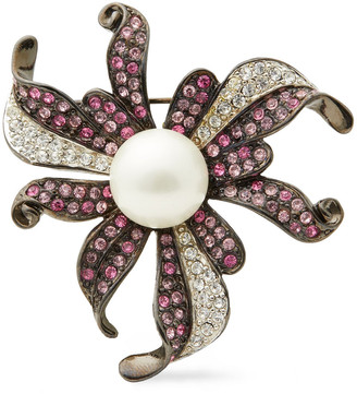 Kenneth Jay Lane Gunmetal-tone, Crystal And Faux Pearl Brooch