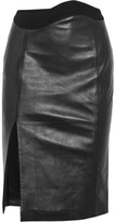 Thierry Mugler Crepe-trimmed Leather Skirt - Black