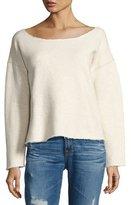 Mother Raw-Edge Long-Sleeve Sweatshirt