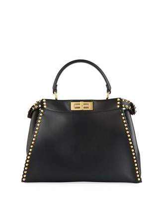 Fendi Peekaboo Medium Calf Leather Satchel Bag with Shiny Studs